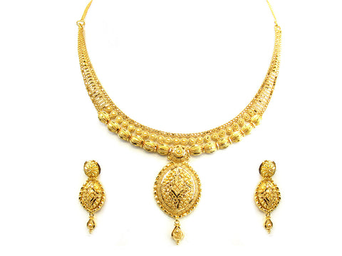 30.60g 22Kt Gold Yellow Necklace Set India Jewellery
