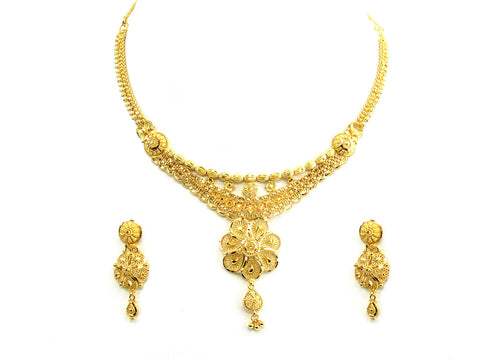 30.20g 22Kt Gold Yellow Necklace Set India Jewellery