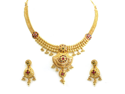 48.30g 22Kt Gold Yellow Necklace Set India Jewellery