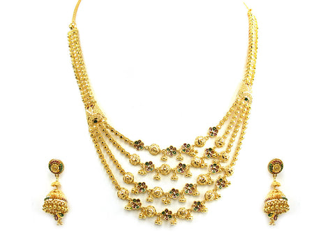 51.90g 22Kt Gold Yellow Necklace Set India Jewellery