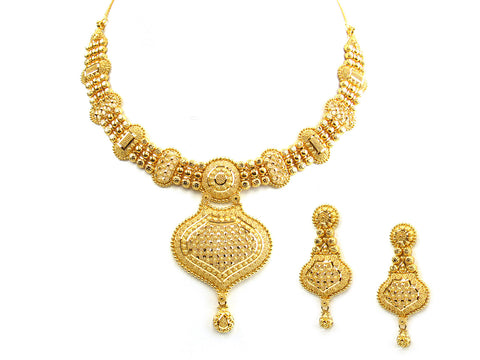 64.10g 22Kt Gold Yellow Necklace Set India Jewellery