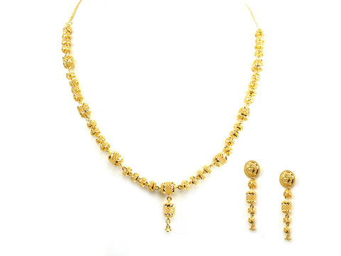 45.20g 22Kt Gold Yellow Necklace Set India Jewellery