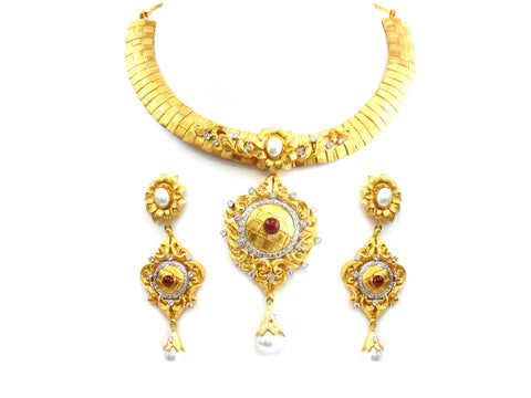 114.40g 22Kt Gold Yellow Necklace Set India Jewellery