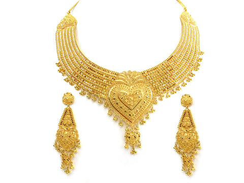 104.30g 22Kt Gold Yellow Necklace Set India Jewellery