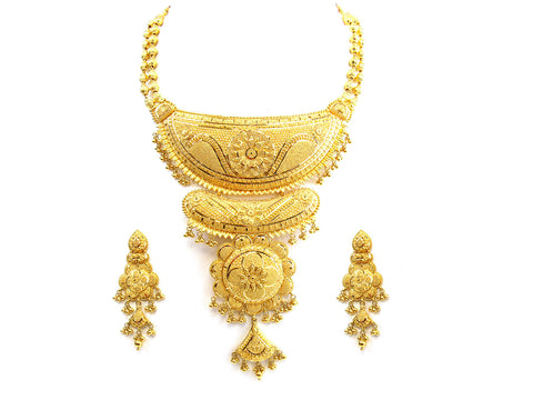 120.40g 22Kt Gold Yellow Necklace Set India Jewellery