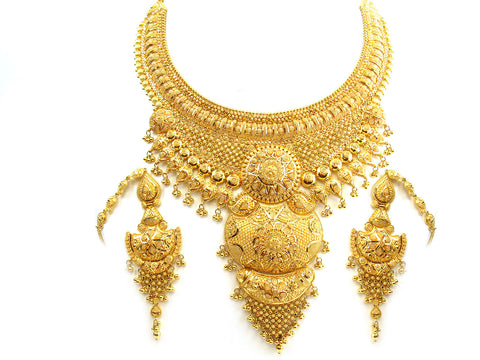 148.10g 22Kt Gold Yellow Necklace Set India Jewellery