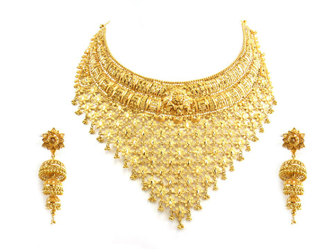 129.70g 22Kt Gold Yellow Necklace Set India Jewellery