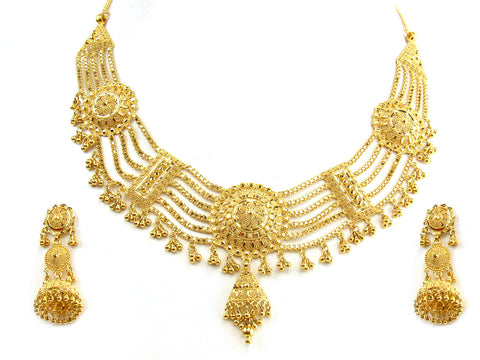 55.60g 22Kt Gold Yellow Necklace Set India Jewellery