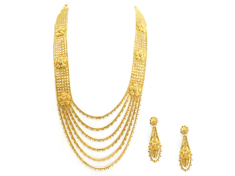 101.70g 22Kt Gold Yellow Necklace Set India Jewellery