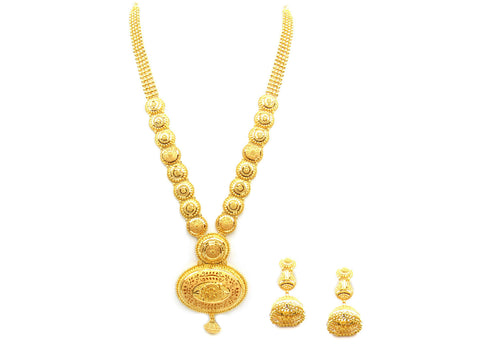 110.80g 22Kt Gold Yellow Necklace Set India Jewellery