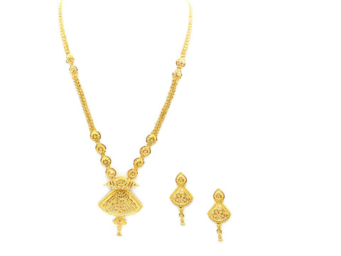 53.70g 22Kt Gold Yellow Necklace Set India Jewellery