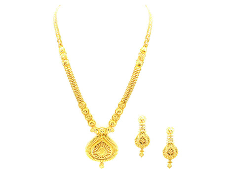 80.40g 22Kt Gold Yellow Necklace Set India Jewellery