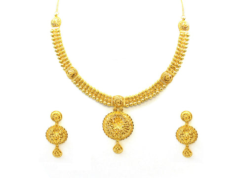47.50g 22Kt Gold Yellow Necklace Set India Jewellery
