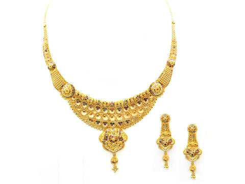 56.20g 22Kt Gold Yellow Necklace Set India Jewellery