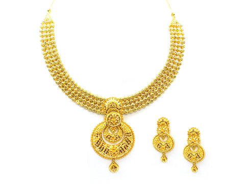 73.30g 22Kt Gold Yellow Necklace Set India Jewellery