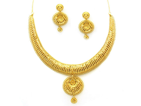 55.50g 22Kt Gold Yellow Necklace Set India Jewellery