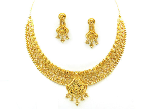 61.60g 22Kt Gold Yellow Necklace Set India Jewellery