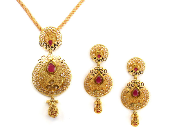 34.90g 22kt Gold Antique Pendant Set - 151