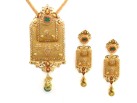 41.70g 22kt Gold Antique Pendant Set India Jewellery