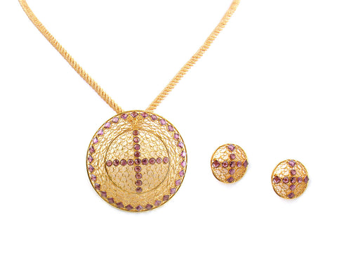 19.90g 22kt Gold Antique Pendant Set India Jewellery