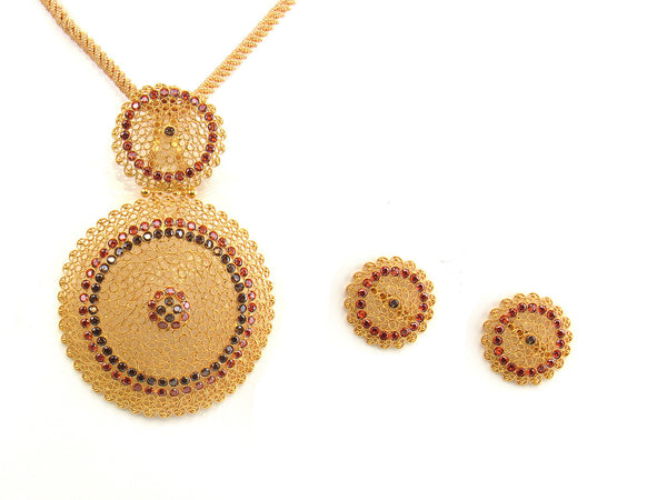 25.00g 22kt Gold Antique Pendant Set - 155