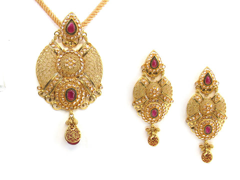 39.15g 22kt Gold Antique Pendant Set India Jewellery
