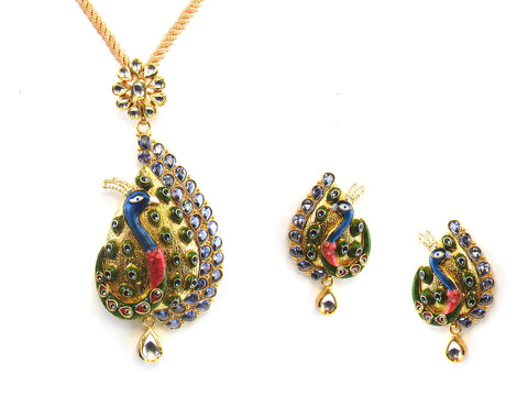 35.50g 22kt Gold Antique Pendant Set India Jewellery