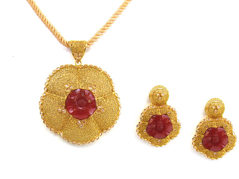 27.75g 22kt Gold Antique Pendant Set India Jewellery