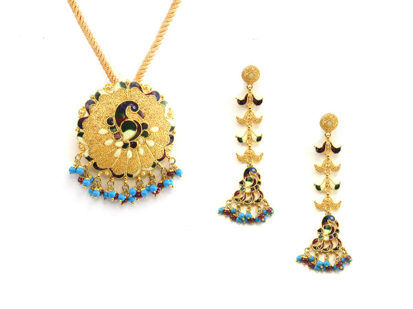35.50g 22kt Gold Antique Pendant Set - 162