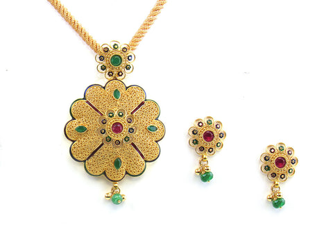 20.60g 22kt Gold Antique Pendant Set India Jewellery