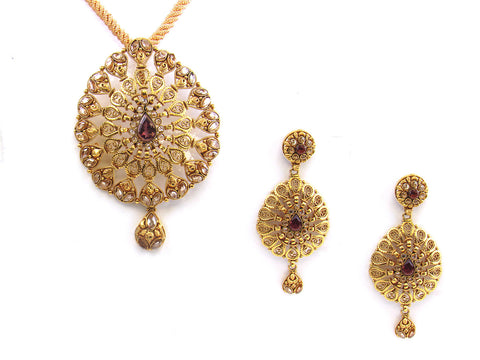 30.64g 22kt Gold Antique Pendant Set India Jewellery
