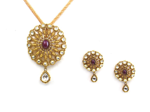 42.40g 22kt Gold Antique Pendant Set India Jewellery