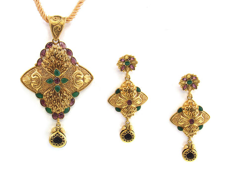 40.30g 22kt Gold Antique Pendant Set India Jewellery