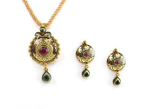 17.10g 22kt Gold Antique Pendant Set India Jewellery