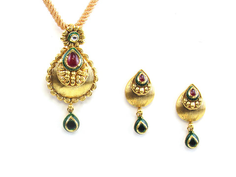 16.55g 22kt Gold Antique Pendant Set India Jewellery