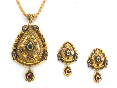 30.60g 22kt Gold Antique Pendant Set India Jewellery