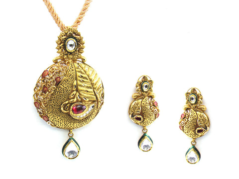 35.60g 22kt Gold Antique Pendant Set India Jewellery