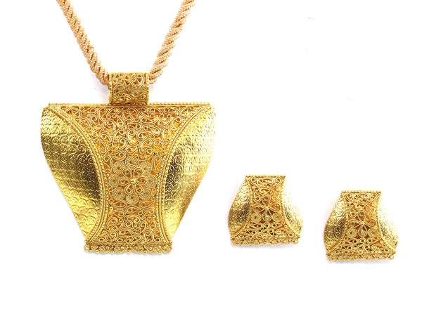 36.85g 22kt Gold Antique Pendant Set - 175
