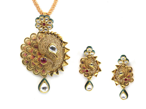 30.50g 22kt Gold Antique Pendant Set India Jewellery