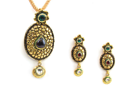 26.55g 22kt Gold Antique Pendant Set India Jewellery