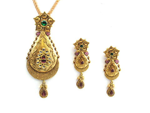 36.90g 22kt Gold Antique Pendant Set India Jewellery