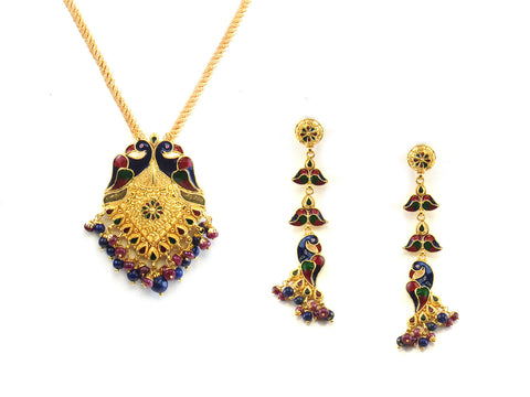 34.45g 22kt Gold Antique Pendant Set India Jewellery