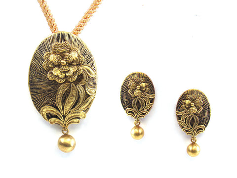 28.85g 22kt Gold Antique Pendant Set India Jewellery