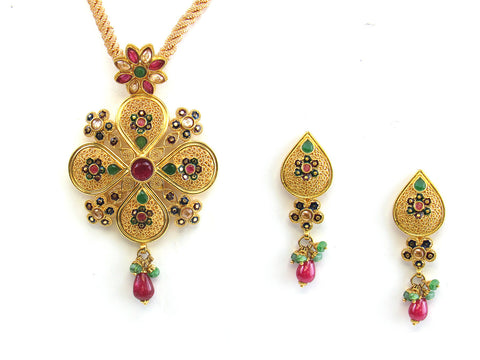 26.00g 22kt Gold Antique Pendant Set India Jewellery