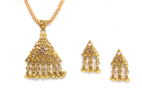 15.00g 22kt Gold Antique Pendant Set India Jewellery