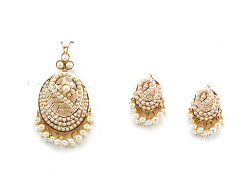 20.38g 22Kt Gold Jarou Pendant Set India Jewellery