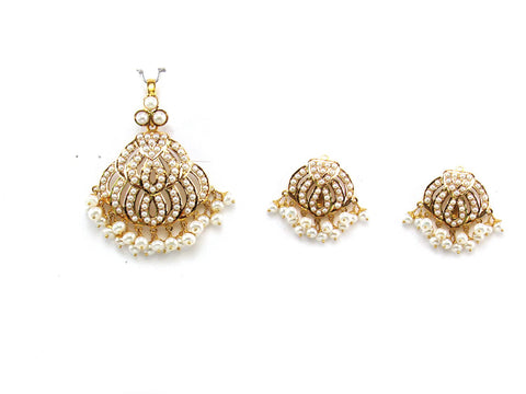 19.82g 22Kt Gold Jarou Pendant Set India Jewellery