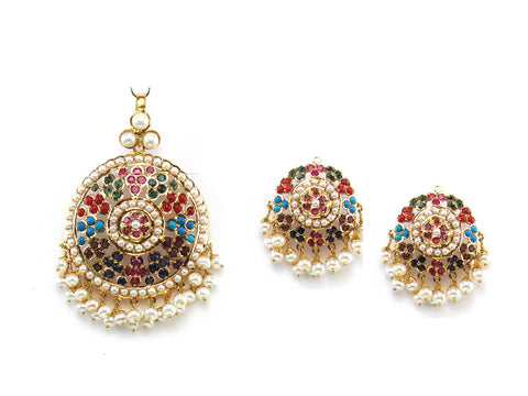 26.83g 22Kt Gold Jarou Pendant Set India Jewellery