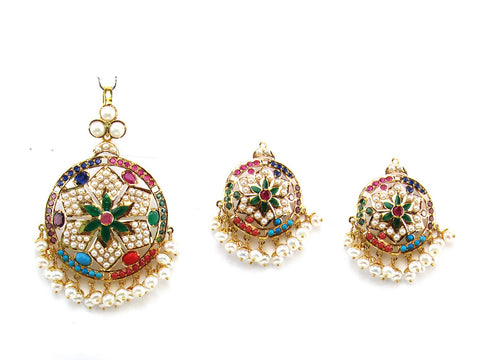 27.19g 22Kt Gold Jarou Pendant Set India Jewellery