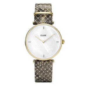 Cluse Triomphe Watch Leather Strap Yellow Gold Case CL61008